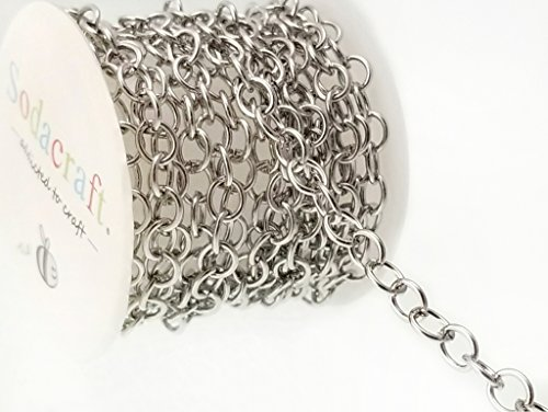 6.6ft (2 meter) Bulk Stainless Steel Cable Chain Mini Spool- Hypoallergenic (5.5mm x 6.5mm) 5.3mm by Sodacraft