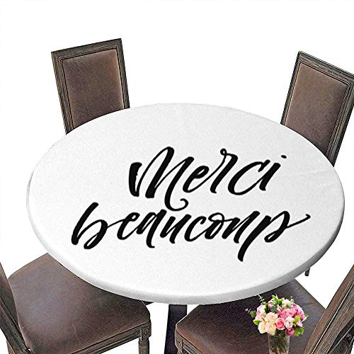 Indoor and Outdoor Round Tablecloth,Merci Beaucoup Postcard Liquid Spills Bead up to 31.5