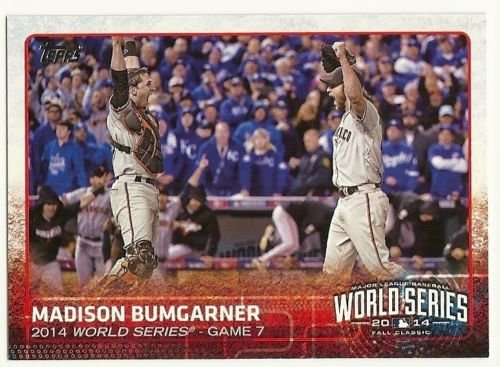(2015 Topps Baseball Cards San Francisco Giants 33 Card Team Set (Series 1 and 2 complete)- 2014 World Series Champions set Including (3) Madison Bumgarner, Brandon Belt, Hunter Pence, Tim Hudson, Tim Lincecum, Gary Brown, Santiago Casilla, Brandon Crawford, Matt Cain, Jake Peavy, Andrew Susac, Brandon Belt, Tyler Colvin, Brandon Hicks, Buster Posey, Joaquin Arias, Hunter Pence and World Series Highlights cards - all shipped in an acrylic case)