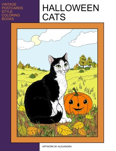 Halloween Cats: Coloring Book (Vintage Postcards Style Coloring Books) ()