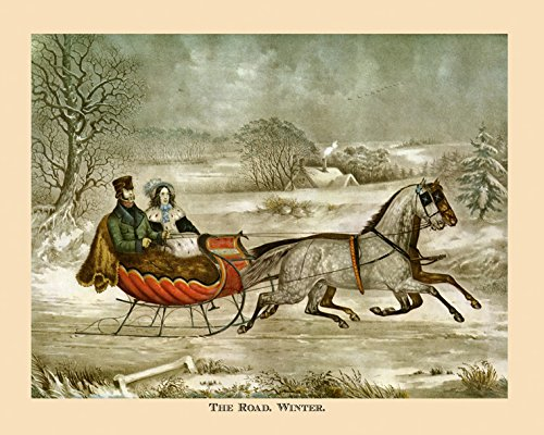 """16"""" X 20"""" Christmas Season The Road Winter Horse Carriage Currier & Ives American Vintage Poster Repro Standard Image Size for Framing. We Have Other Sizes Available!"""