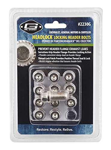 Mr Gasket Header (Mr. Gasket 2230G Headlock Locking Header Bolt, (Set of 12))