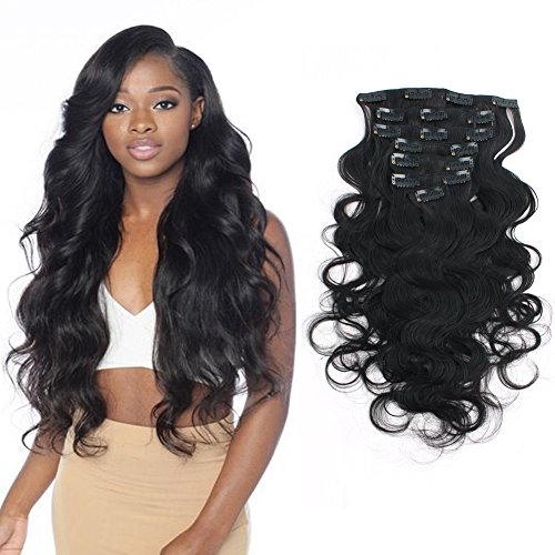 Search : Sassina 8A Grade Double Wefts Virgin Clip In Human Hair Extensions Natural Black Color For African American Black Women 7 Pieces/Set 120 Grams Per Bundle With 17 Clips BW 10 Inch