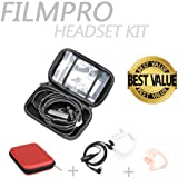 On Set Headsets: The FILMPRO Kit - Includes the FILMPRO Walkie Talkie Surveillance Headset w/ RED Travel Case and FREE Contoured Ear Tip (Ear Tip: Left/Large)
