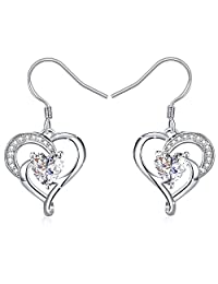 J.Rosée Women Heart Earrings 925 Sterling Silver 3A Cubic Zirconia Dangle Earrings Hook Fine Jewelry Heart True Love,Birthday Gifts