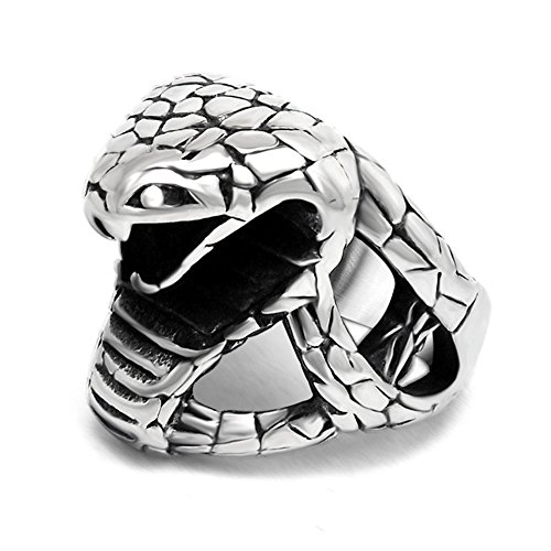 LILILEO Jewelry Titanium Steel Cobra Hip Hop Punk Ring For Men's Rings (Cobra Ring)