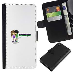 All Phone Most Case / Oferta Especial Cáscara Funda de cuero Monedero Cubierta de proteccion Caso / Wallet Case for Sony Xperia Z3 D6603 // Young's love