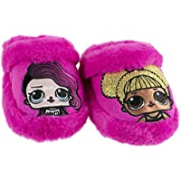 L.O.L. Surprise! Girls Slipper, Easy Slip-on Plush Scuff, Queen Bee and Rocker, Little Kid/Big Kid Size 9 to 1