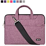 Qishare 15 15.6 16 inch Laptop Case Laptop Shoulder Bag, Multi-functional Notebook Sleeve Carrying Case With Strap for Lenovo Acer Asus Dell Lenovo Hp Samsung Ultrabook Chromebook 15(Purple Lines)