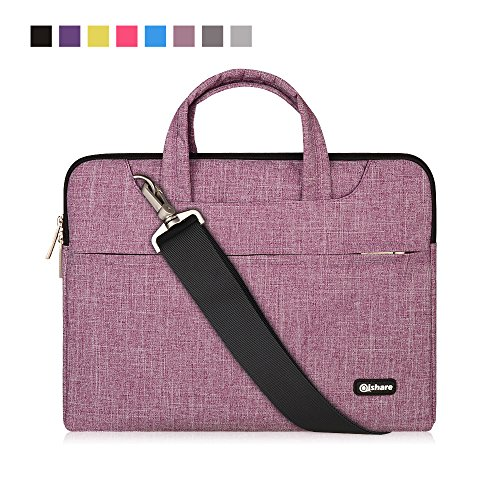 Qishare 11.6 12inch Laptop Case, Laptop Shoulder Bag, Multi-functional Notebook Sleeve, Carrying Case With Strap for Chromebook Macbook HP Stream Samsung Acer Asus Dell Lenovo(11.6-12'', Purple Lines)