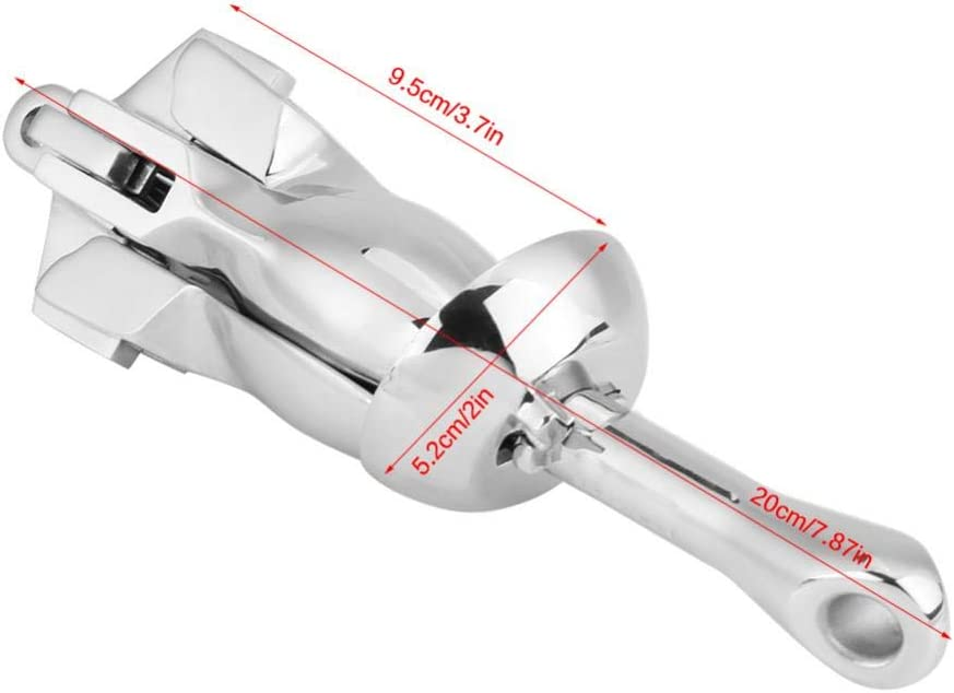 KIMISS 0.7KG Stainless Steel Boat Folding Grapnel Anchor Docking Hardware for Marine Yacht