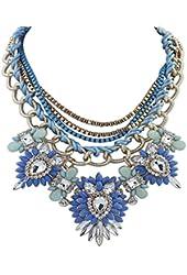 Eyourlife Christmas Hot Multi-Layers Flower Pendant Statement Chunk Collar Necklace Wedding Party (Blue+Light Blue)