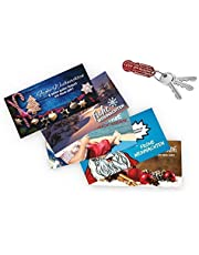 Einkaufswagenlöser Weihnachtskarte 5 Stück mit je 1 x Geschenk verpackt