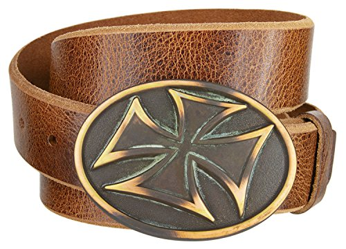 - Mens Solid Metal 'Iron Cross' Belt Buckle With Tan 'Distressed' Design Leather Belt 1 1/2