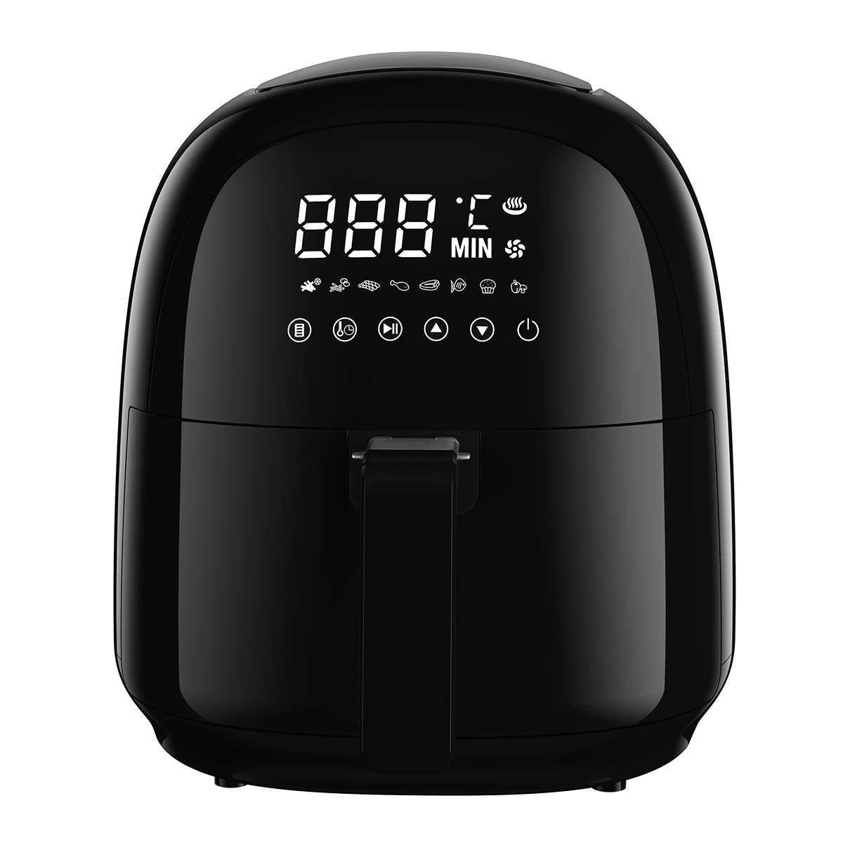 Power Air Fryer Oven, Rackaphile Electric Air Fryers 3.7 Qt No Oil Hot Airfryer with 8 Preset Settings, Temperature Timer Control, 360° Rapid Hot Air Technology, Digital LED Touch Screen, Oil-Free and Healthy, for Home Kitchen Meals, Black