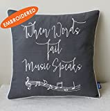 EURASIA DECOR Music Lover Embroidered Pillow cover Gift for Music Teacher Student Graduation