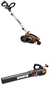 "WORX WG896 12 Amp 7.5"" Electric Lawn Edger & Trencher w/Turbine 600 Electric Leaf Blower"
