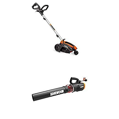 WORX WG896 12 Amp 7.5 Electric Lawn Edger Trencher w Turbine 600 Electric Leaf Blower
