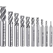 "10 pcs 4-Flute End Mill Bits, AFUNTA 0.08"" - 0.47"" HSS CNC Straight Shank Drill Bits Cutter Tool Set for Wood Aluminum Steel Titanium"