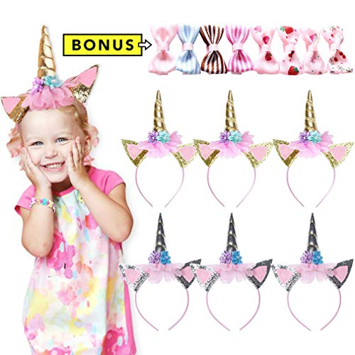 (Gold Unicorn Headbands Baby Girl Silver Birthday Party Supplies Halloween Christmas Favors for Girls Toddler)