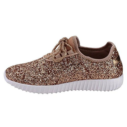 Forever Link Women's REMY-18 Glitter Fashion Sneakers Rose Gold 5.5 B(M) US by Forever Link (Image #4)