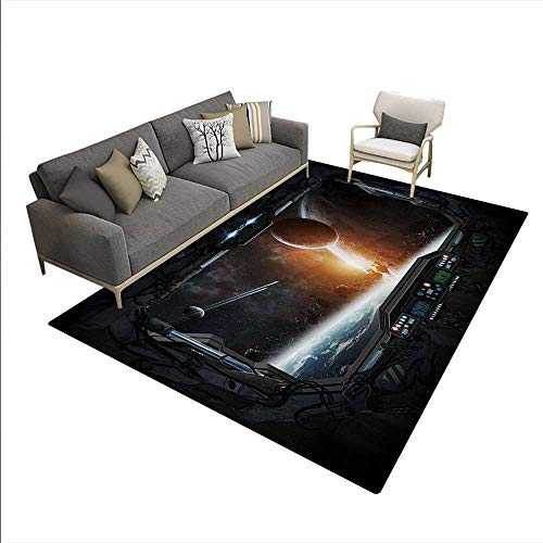 """Price comparison product image Carpet, Scenery Planets from The Window a Shuttle Bodies Astronaut Space Station, Print Area Rug, Gray Orange, 6'6"""" x10'"""