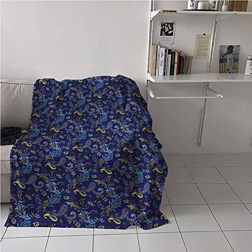 - Suchashome Aqua Paisley Beach Blanket,Repetitive Flowers Teardrop Shaped Illustration,Oversized Travel Throw Cover Blanket,Microfiber All Season Blanket 70