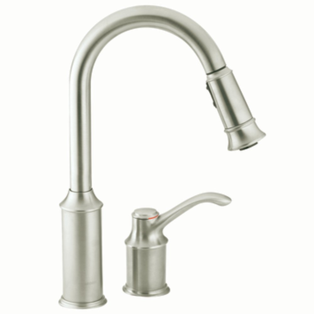 moen 7590csl aberdeen one handle high arc pulldown kitchen faucet