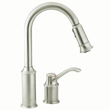 Moen 7590CSL Aberdeen One Handle High Arc Pulldown Kitchen Faucet Featuring  Reflex, Classic