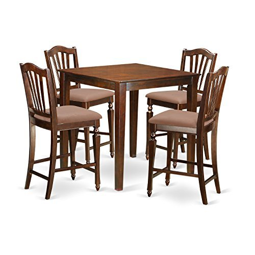 - East West Furniture VNCH5-MAH-C 5 Piece Counter Height Pub Table and 4 Kitchen Chairs Set