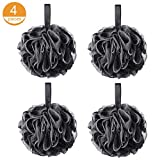 75g Black Loofah Loofy Sponge Exfoliating Soft Shower Puff Scrunchie Bath Ball Body Scrubber Mesh Luxury Pouf 4 Set