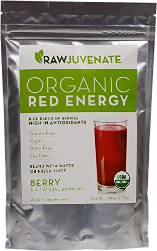Raw Green Organics - Organic Red Energy - Rich Blend of Berries High in Antioxidants - 7.9 oz. (224 Grams)