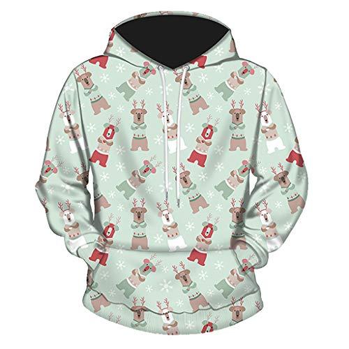 ANJUNIE Christmas Pullover Men Women Winter Long Sleeve Hooded Coat Slim Outwear Tops Blouse(Multicolor4,L)