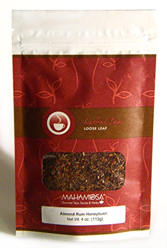 Mahamosa Almond Rum Honeybush Tea 4 oz, Loose Leaf Honeybush Herbal Tea Blend (honeybush, almond, safflower with almond, macadamia nut and rum flavor), Dessert Tea