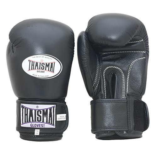 Thaismai Muay Thai Boxing Gloves Velcro (Black,12 oz)