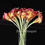 High Quality Silk Flowers DIY Bouquet Artificial Real Like Lily Calla Bride Wedding Home Party Decoration (dark red)