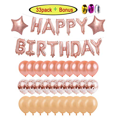 Happy Birthday Balloons Banner Decorations Party Supplies for Girls/Women - 16 inch Rose Gold Letters Balloon Banner + 12