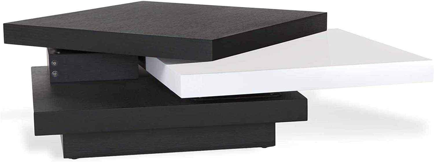 - Amazon.com: Floyd Black And White Coffee Table With Rotating Shelf