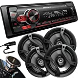 Pioneer MVH-S310BT Digital Media Receiver with Smart Sync App Compatibility, MIXTRAX, Built-in Bluetooth + 2 Pairs of TS-F1634R 6.5' Car Speakers (4 Speakers)