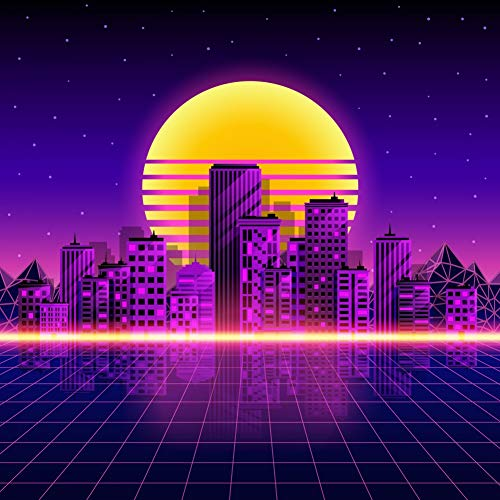 ERIC 10x10ft Retro Neon City Style 80's Futurism Photography Background 70th 80th Themed Party Photography Backdrops 1980s Digital Landscape Art Wall Background for Picture FYNL-0645 -