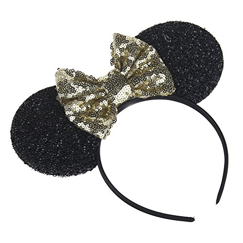 [Kewl Fashion Sequins Bowknot Mickey Mouse Ear Headband Headwear for Travel Festivals (Gold)] (Mickey Mouse Ears Headband)