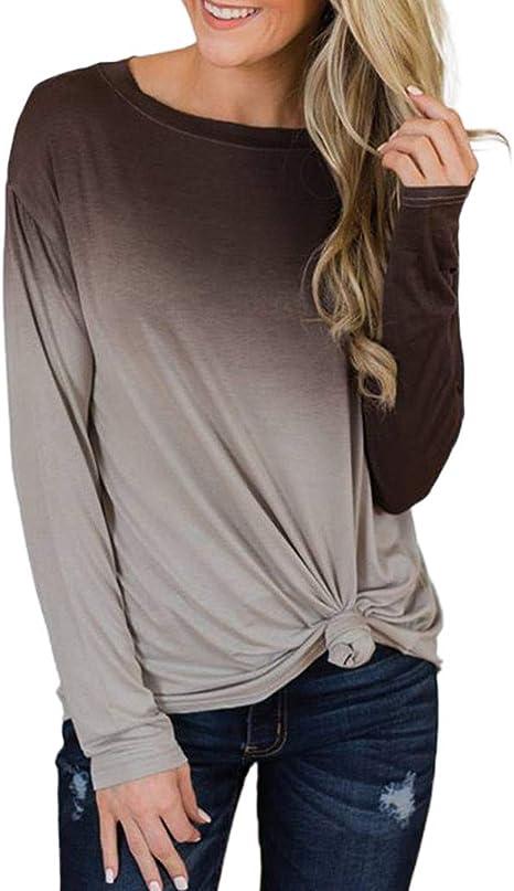 ღLILICATღ Camisas de Manga Larga Gradiente para, Mujeres Moda Impresión de Mangas Largo del Camisas Tops Suelto Cuello Redondo Camiseta Blusa Tops: Amazon.es: Deportes y aire libre