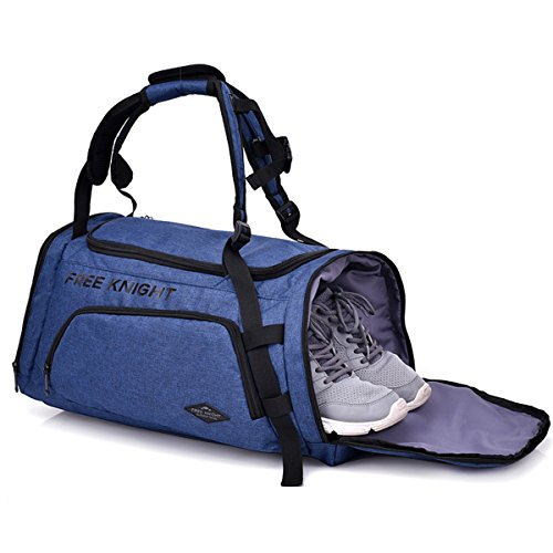 e8eeb8daeaef Galleon - Sports Gym Bag With Shoes Compartment Travel Duffel Bag For Men  And Women - Blue