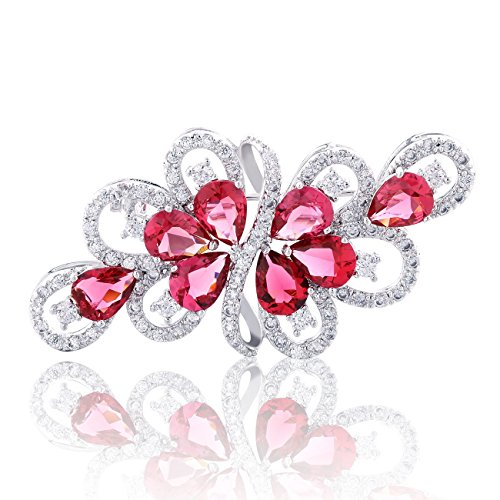 (GULICX Silver Color Ribbon Luxury Cubic Zirconia Crystal Tear Drop Cluster Red Wreath Brooch Pin)