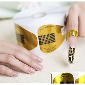 AKOAK 100 Pieces Horseshoe-shaped Nail Art Acrylic Nail/UV GEL Nail Extention Tips Form Guide Sticker