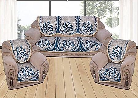 Yellow Weavestm 6 Piece Aqua Blue Sofa & Chair Cover Set