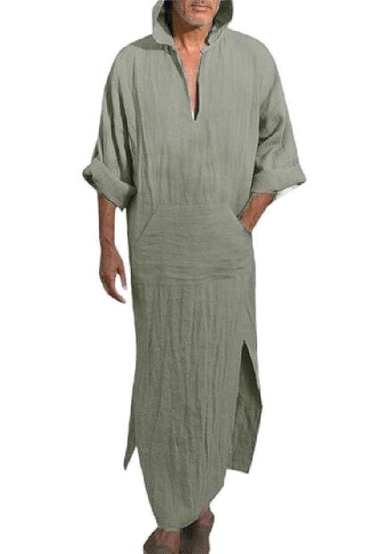Mens Casual Linen Robe Long Sleeve Hooded Kaftan Abaya Thobe Long Gown