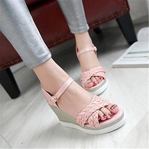 de Mujer Zapatos Verano Rosa Moda de Cuña con Sandalias npq7Ix