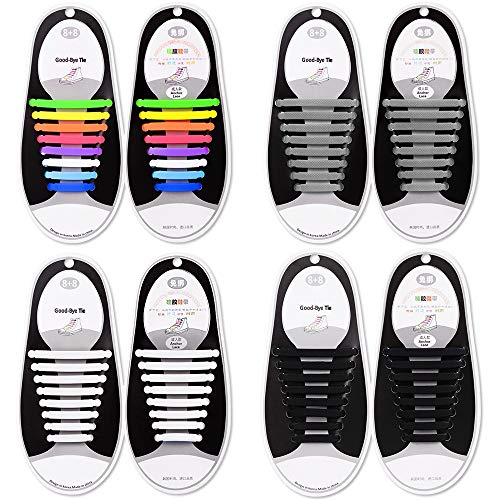Talent Fashion hui-348 Kids/Adults Tieless Elastic Silicone No Tie Shoelaces, Waterproof, Rubber Flat, Running for Sneakers, Board Shoes, Casual Shoes and Boots - 4 Piece