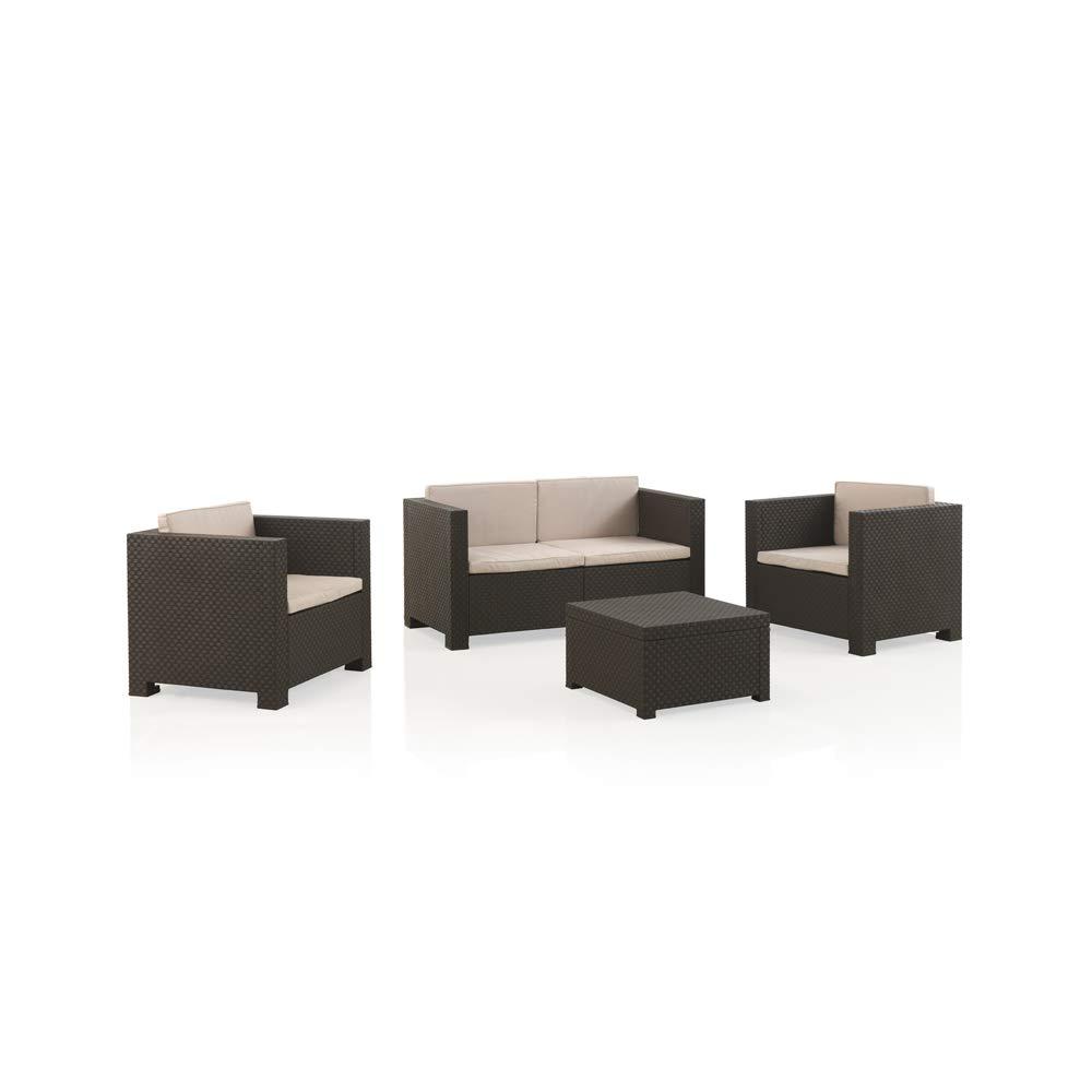 Shaf - Diva | Set Muebles Diva | Set Muebles de Jardin de Color Wengué | Fabricado en España con Materiales Recicladosde Color Wengué | Fabricado en España con Materiales Reciclados: Amazon.es: